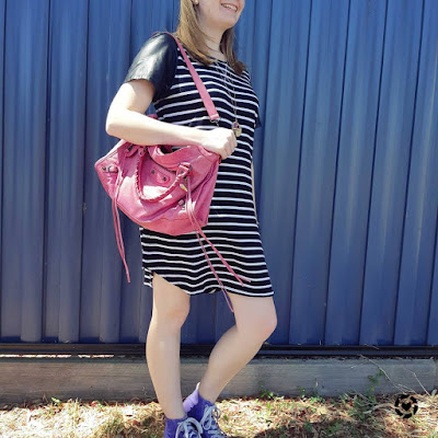 awayfromtheblue Instagram | spring mum outfit striped tee dress purple high tops pink balenciaga city bag