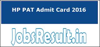 HP PAT Admit Card 2016