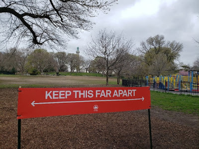 "Untapped Cities Keep This Far Apart"" Social Distancing Signs Now in NYC Parks"