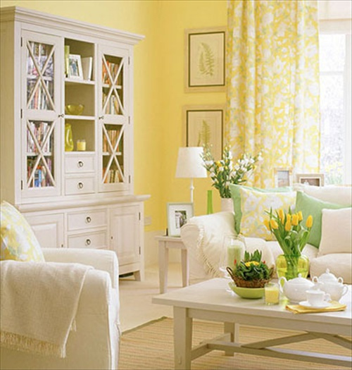 Living Room Design with Butter Yellow-Colored with Gold ...