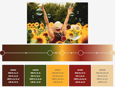 sunflower color palette that includes green, brown, yellow, red, beige