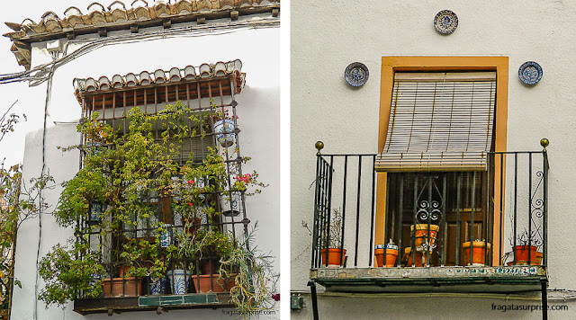 Fachadas no bairro mouro do Albaicín, Granada, Andaluzia