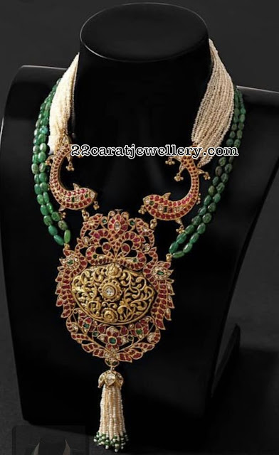 Kundan Filigree Pendant with Beads