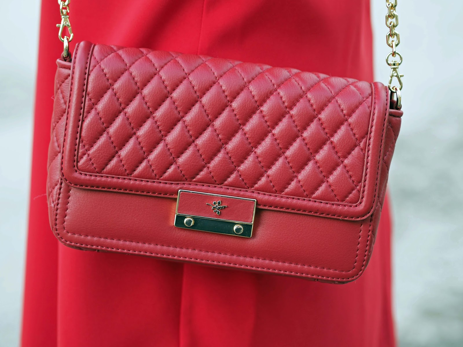 Ilex London red leather quilted cross body bag with gold chain