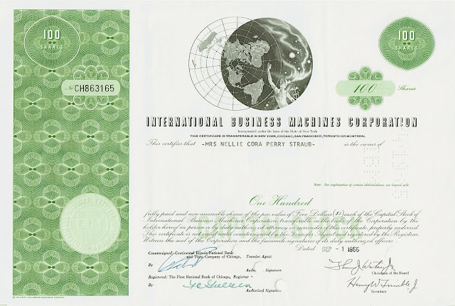 IBM share certificate, 1960s, vignette of Mercury in the starts