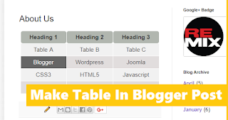 Make Table In Blogger Post