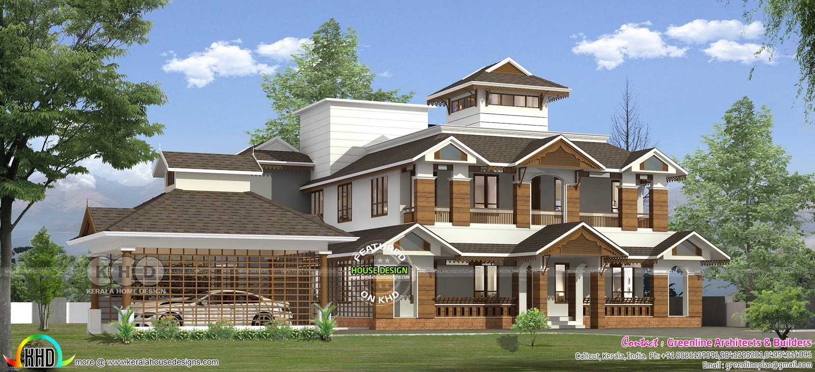 Traditional Style Sloping Roof 4 Bedroom Home 305 Square