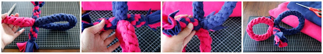 Pink and blue woven fleece dog toy with two loops and two tugs