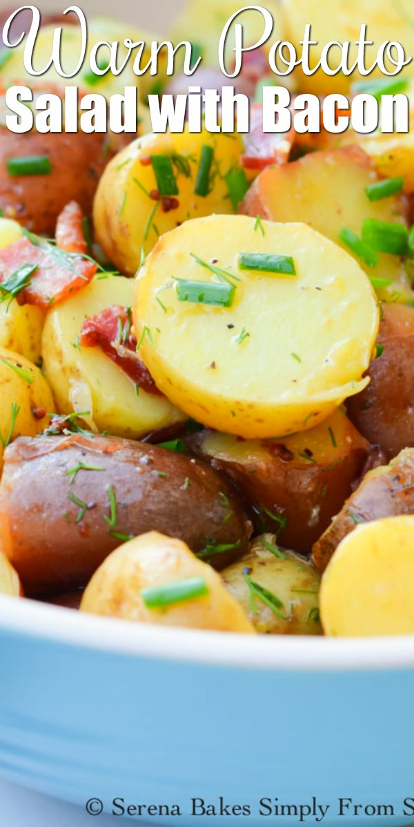Tangy Warm Potato Salad with Bacon and fresh herbs is a delicious side dish recipe from Serena Bakes Simply From Scratch.