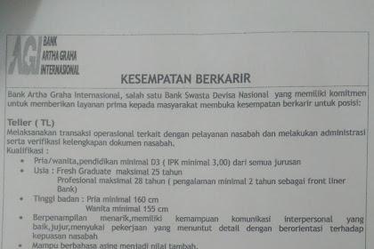 Lowongan Kerja Bank Artha Graha Internasional Cabang Kupang