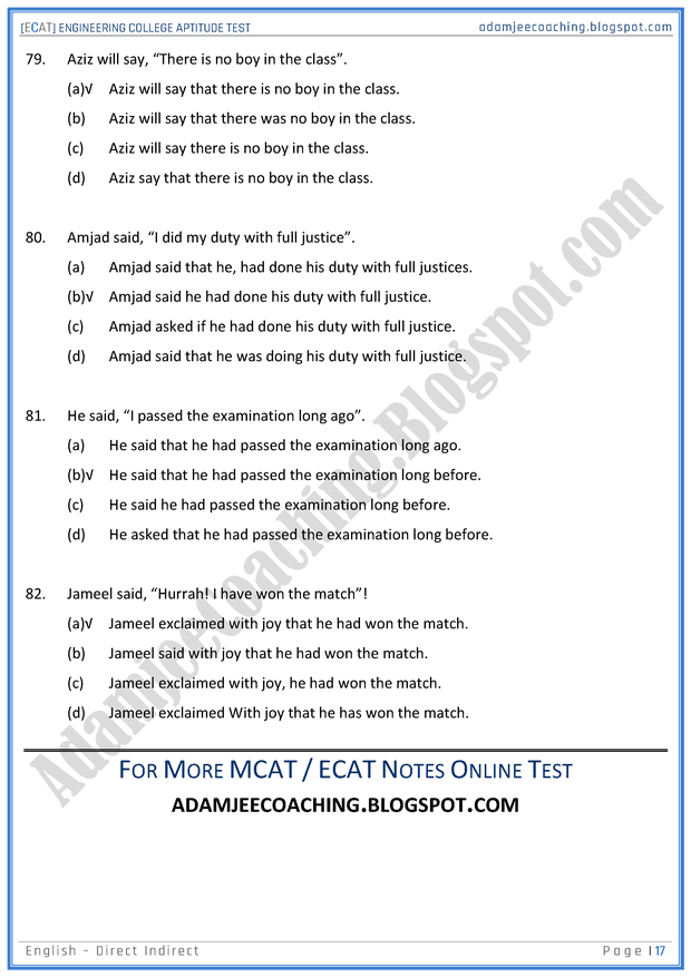 ecat-english-direct-indirect-sentences-mcqs-for-engineering-college-entry-test