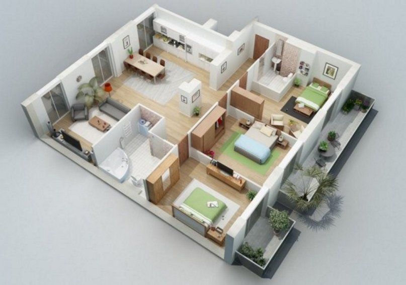 denah rumah ukuran 9x10 terlihat minimalis