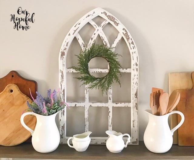 farmhouse decor cathedral arch pitcher creamer wreath lavender