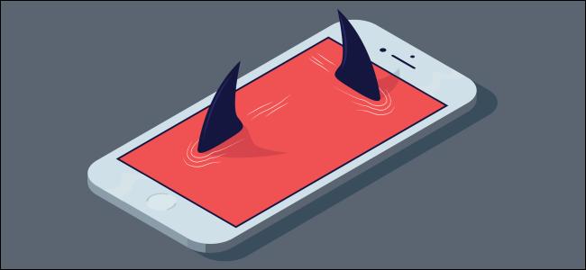 زعانف سمك القرش الخارجة من شاشة الهاتف الذكي.
