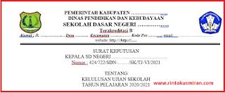 DOWNLOAD SK KELULUSAN JENJANG SD TAHUN PELAJARAN 2020/2021