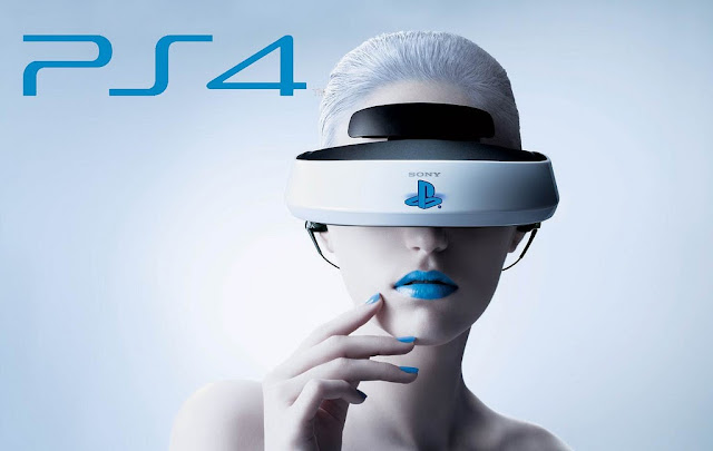 A woman with white hair and blue lipstick wears a VR headset infront of a white background besides the words PS4