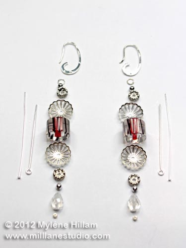 Bead and finding layout for construction of Christmas Lantern earrings