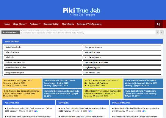 Blogger Template Piki True Job
