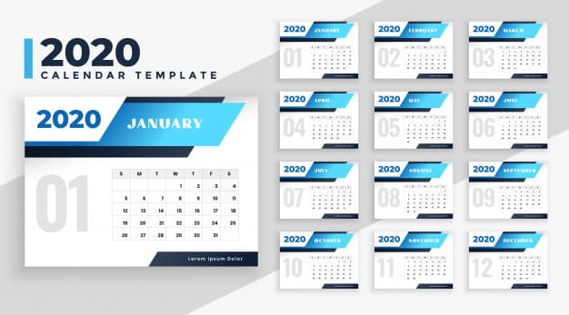 Plantilla de calendario 2020 gratis editable