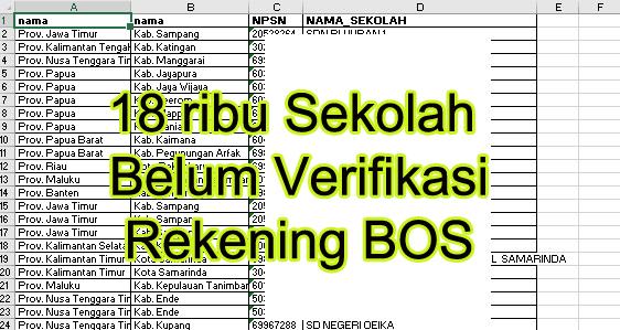 gambar Sekolah belum Berhasil verifikasi Rekening di Bos.kemdikbud.Go.id