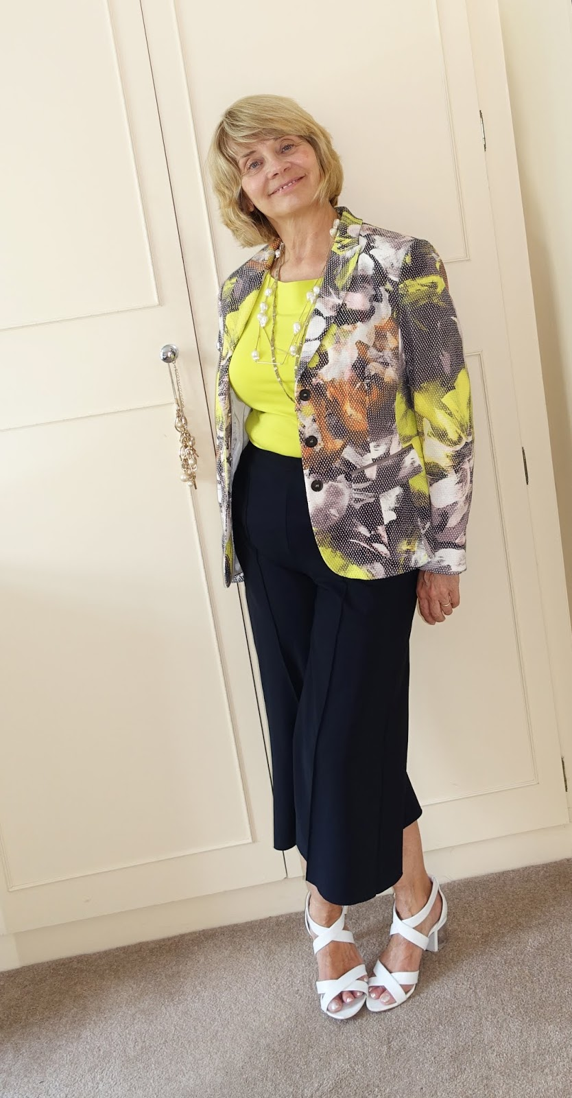 Zingy summer number - lime green top, patterned jacket and black cropped trousers