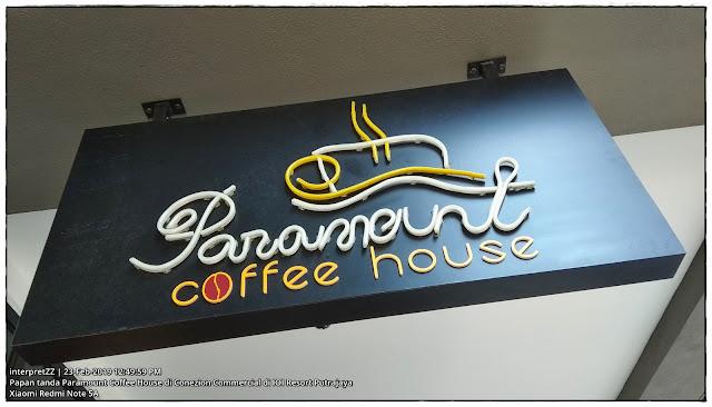 Gambar papan tanda kedai makan Paramount Coffee House Putrajaya.
