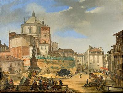 Giuseppe Elena – Veduta della piazza della Vetra in Milano
