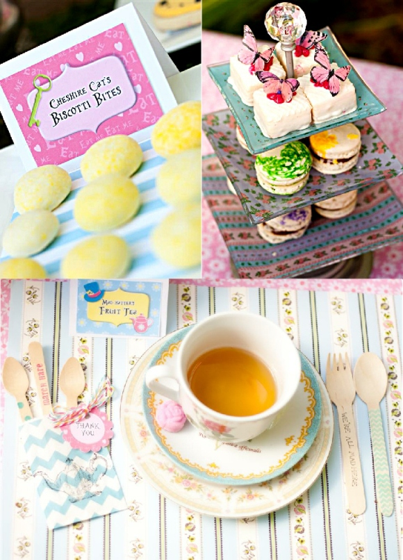Alice in Wonderland Mad Hatter Tea Party Table Tea - via BirdsParty.com
