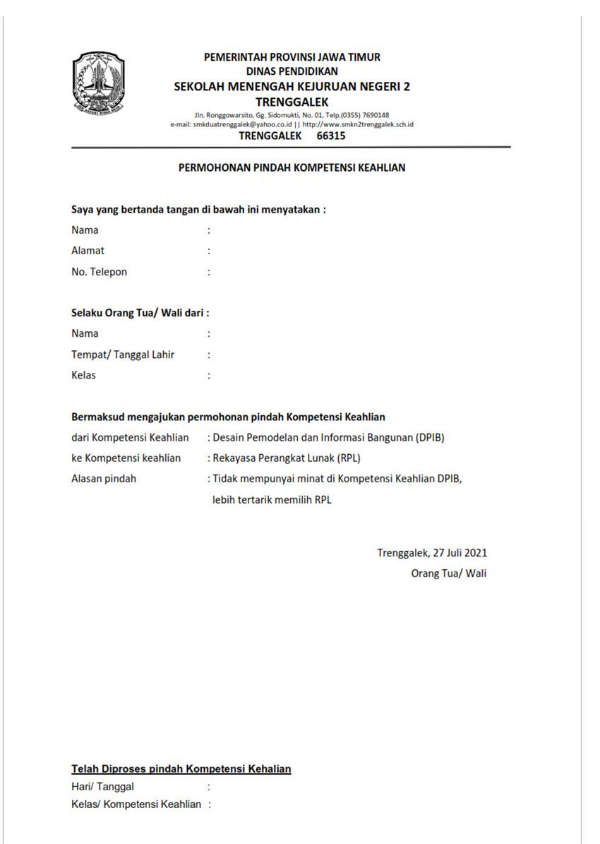 Surat Pernyataan Pindah Jurusan atau Kompetensi Keahlian