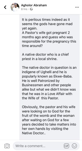 drama as native doctor impregnates pastors wife