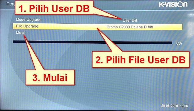 Pegaturan Mode Upgrade User DB K Vision Bromo C2000