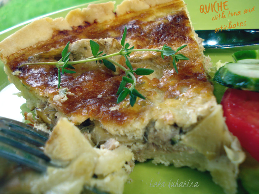 Quiche with tuna and artichokes by Laka kuharica: fluffy and delicious quiche-like pie is easy to make.
