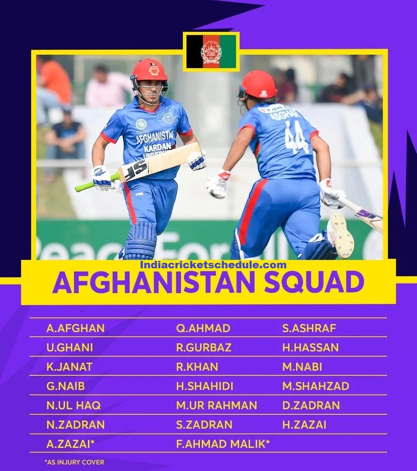 Afghanistan Team Squad, Schedule for the ICC Men's T20 World Cup 2021