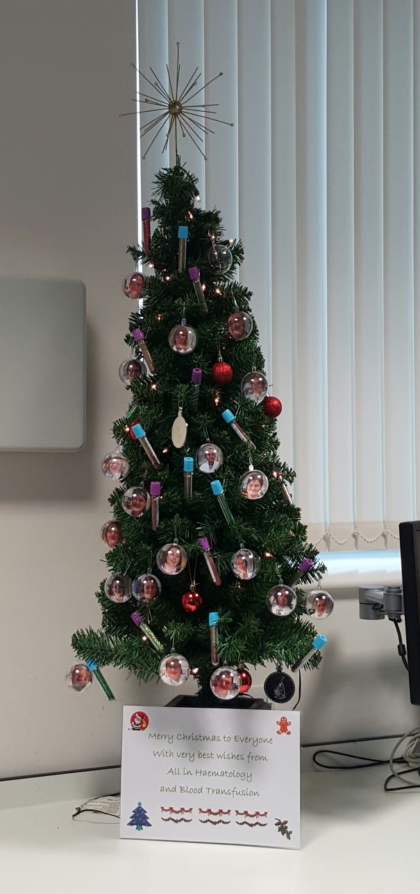 Creative Ideas For Christmas Decorations By A Hospital's Medical Staff - Haematology Christmas Tree