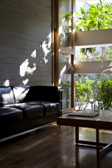 Photo of living room by the wall with vegetation