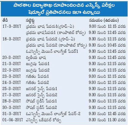 AP 10th Class 2017 Date Sheet