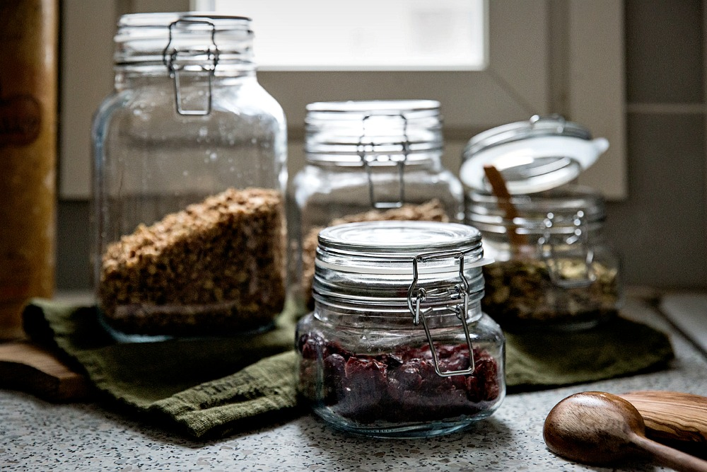 Säilytyspurkit, koti, keittiö, sisustus, ruoka, säilytys, siemenet, myslit, jauhot, granola