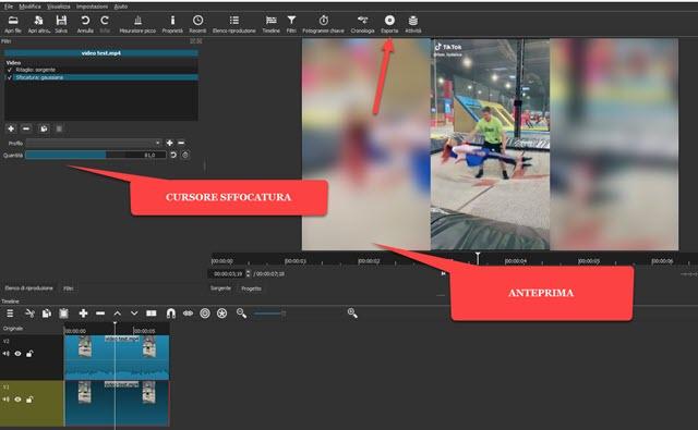 aggiungere il filtro sfocatura a clip con shotcut