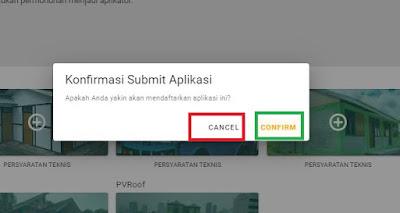 Tampilan konfirmasi submit aplikasi