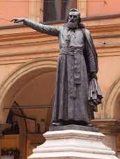 A statue of Ugo Bossi in Via Ugo Bossi in Bologna