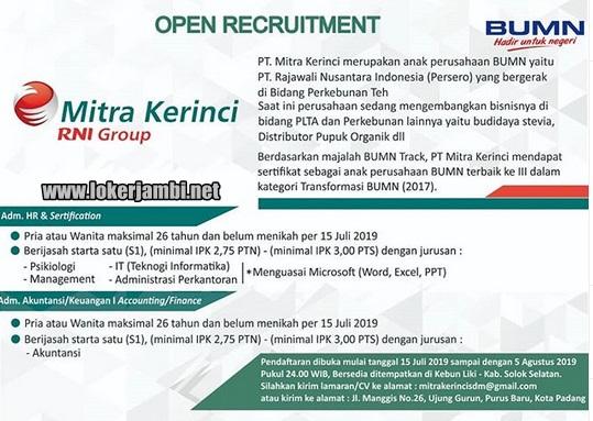 Lowongan Kerja Pt Mitra Kerinci Rni Group Persero Loker Jambi Terbaru 2020