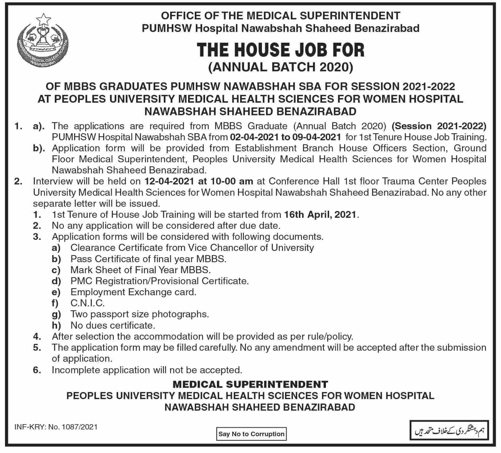 Latest Jobs 2021 in Peoples University Medical Health Sciences for Women (PUMHSW) Hospital Nawabshah