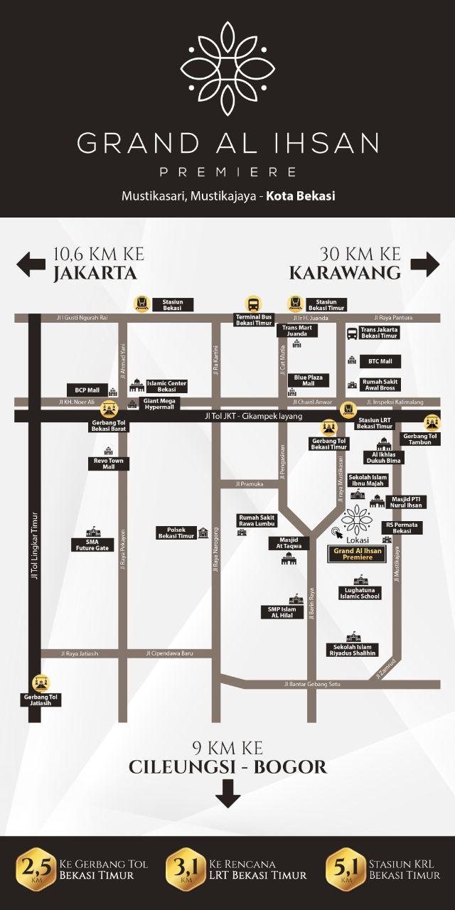 Akses Lokasi Grand Al Ihsan Residence Perumahan Islami Syariah di Bekasi