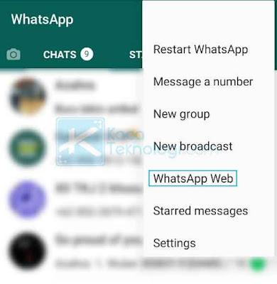 Klik garis tiga / titik tiga yang terdapat di bagian pojok kanan atas, kemudian klik WhatsApp Web.