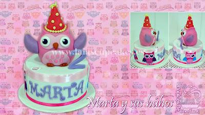 tarta personalizada fondant búho animales fiesta cumpleaños modelado 3d laia's cupcakes puerto sagunto