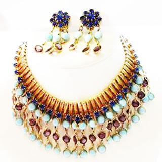 1980s vintage turquoise necklace set