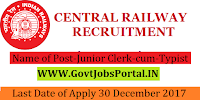 Central Railway Recruitment 2017– 150 Junior Clerk-cum-Typist