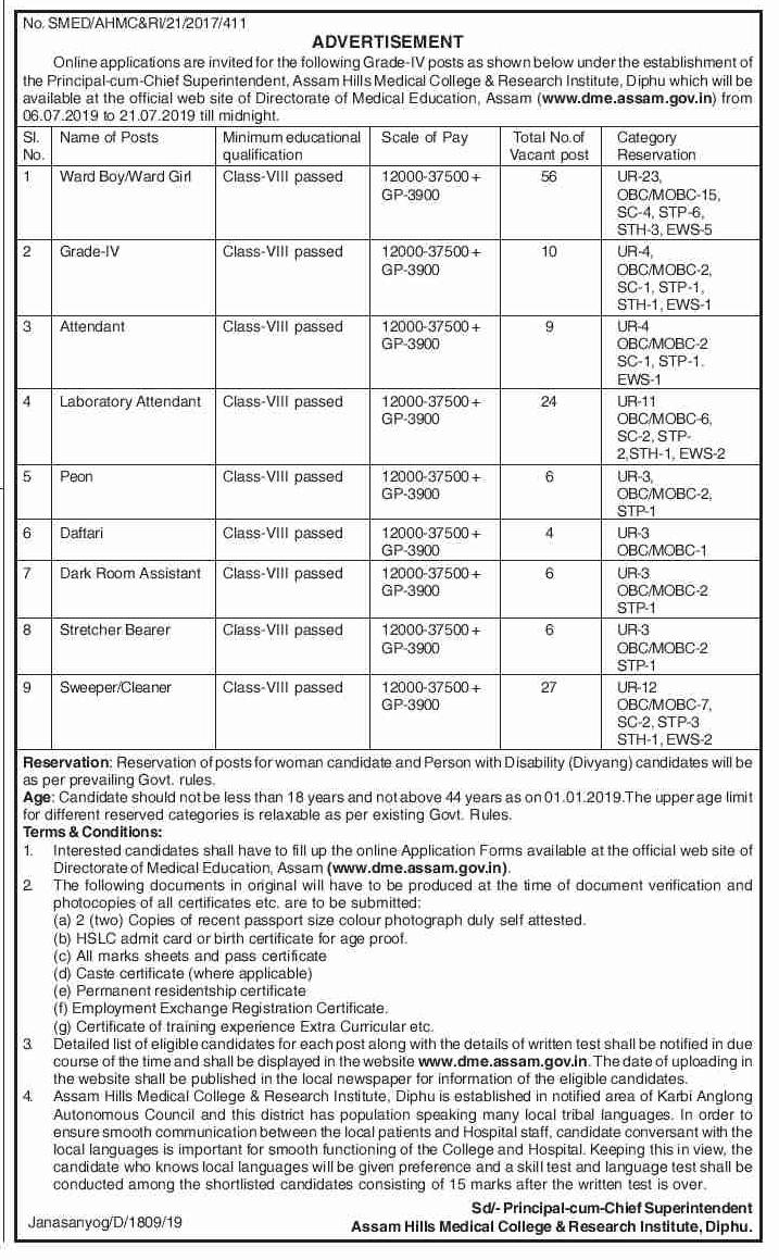 DME Assam Recruitment 2019 : 148 Post @Dme Assam Gov In
