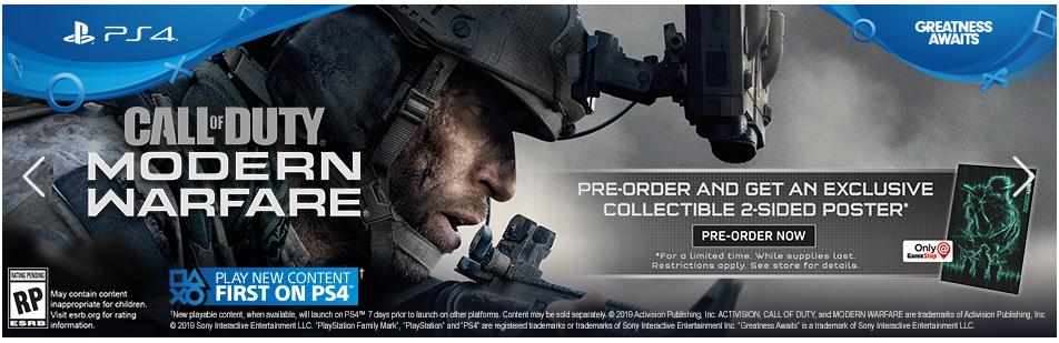 GameStop Deals: Pre-Order Call Of Duty Modern Warfare