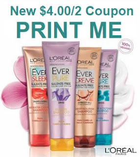 L'Oreal Ever Shampoo Coupons Save $4.00 off two